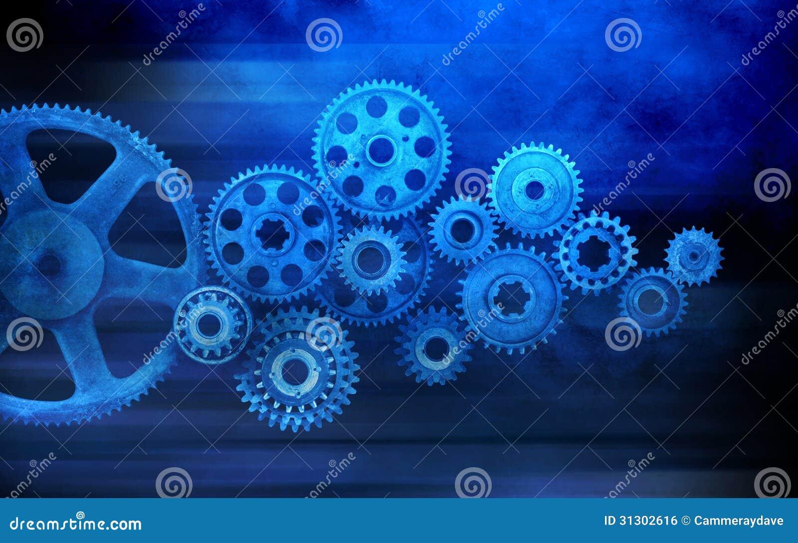 Blått förser med kuggar kugghjulbakgrund