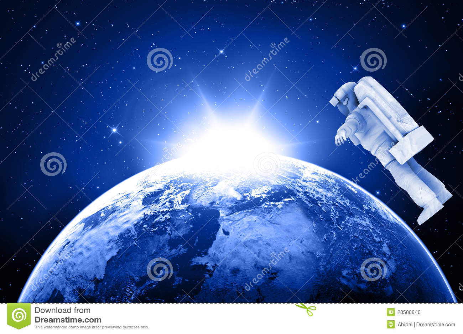 Blått jordplanet för astronaut