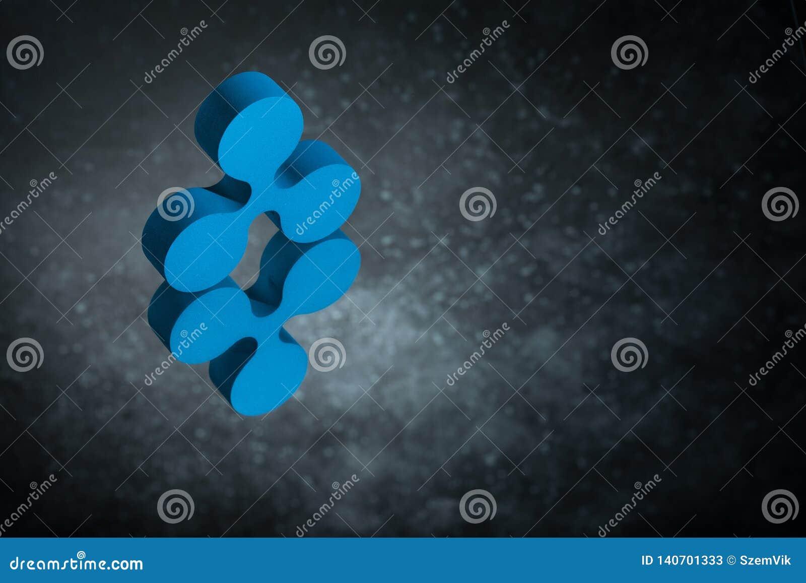 Blått krusningsvalutasymbol eller i spegelreflexion på mörka Dusty Background