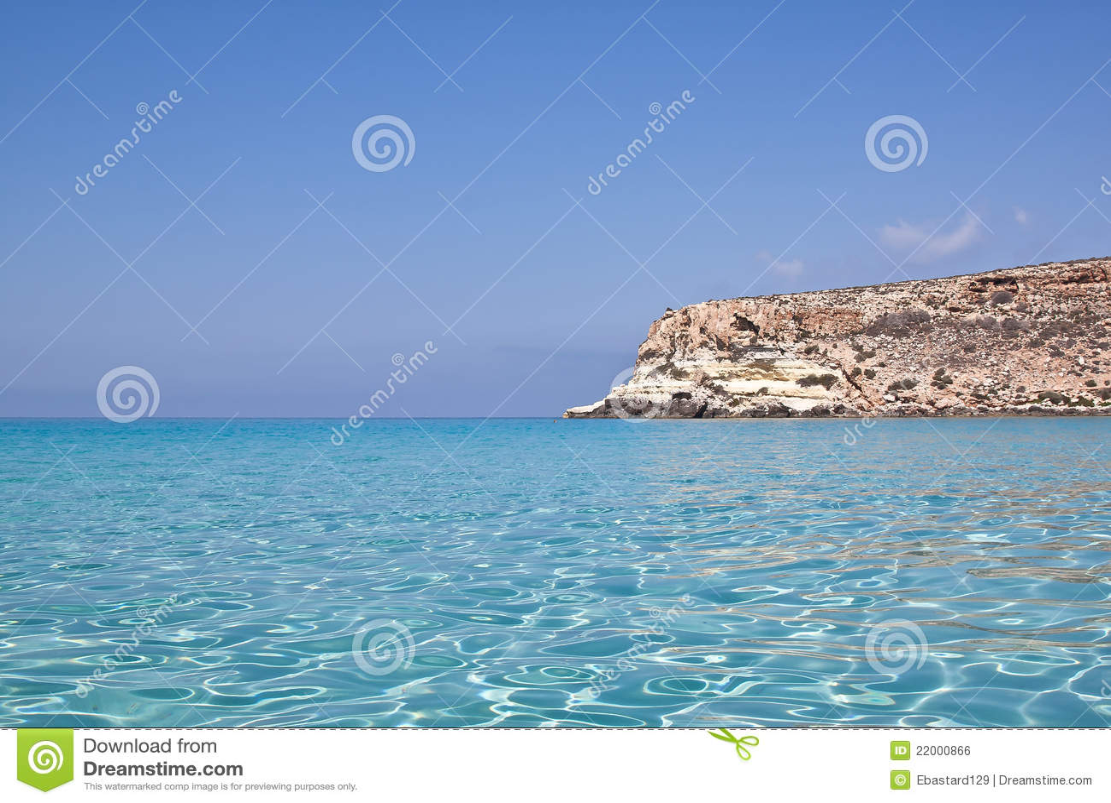 Blått lampedusa hav sicily