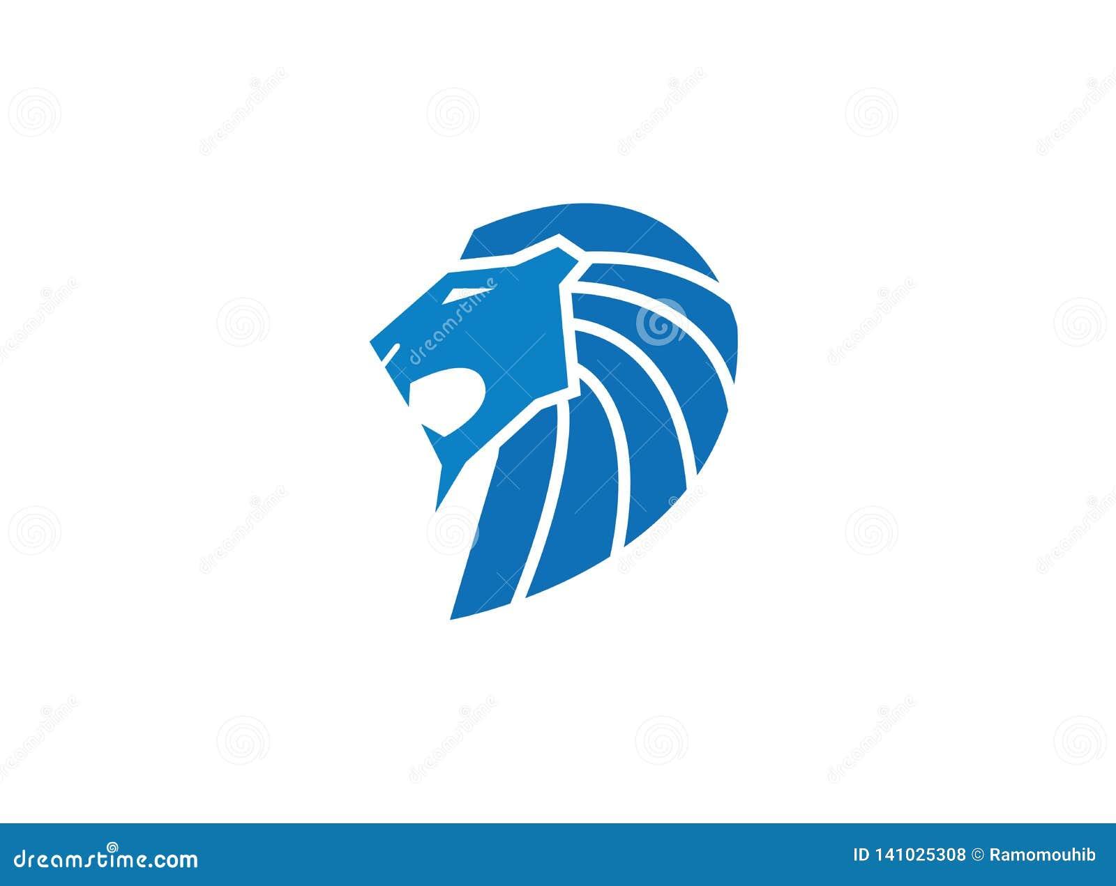 Blått lejonhuvud och att vända mot den öppna munnen som vrålar för logodesignillustration
