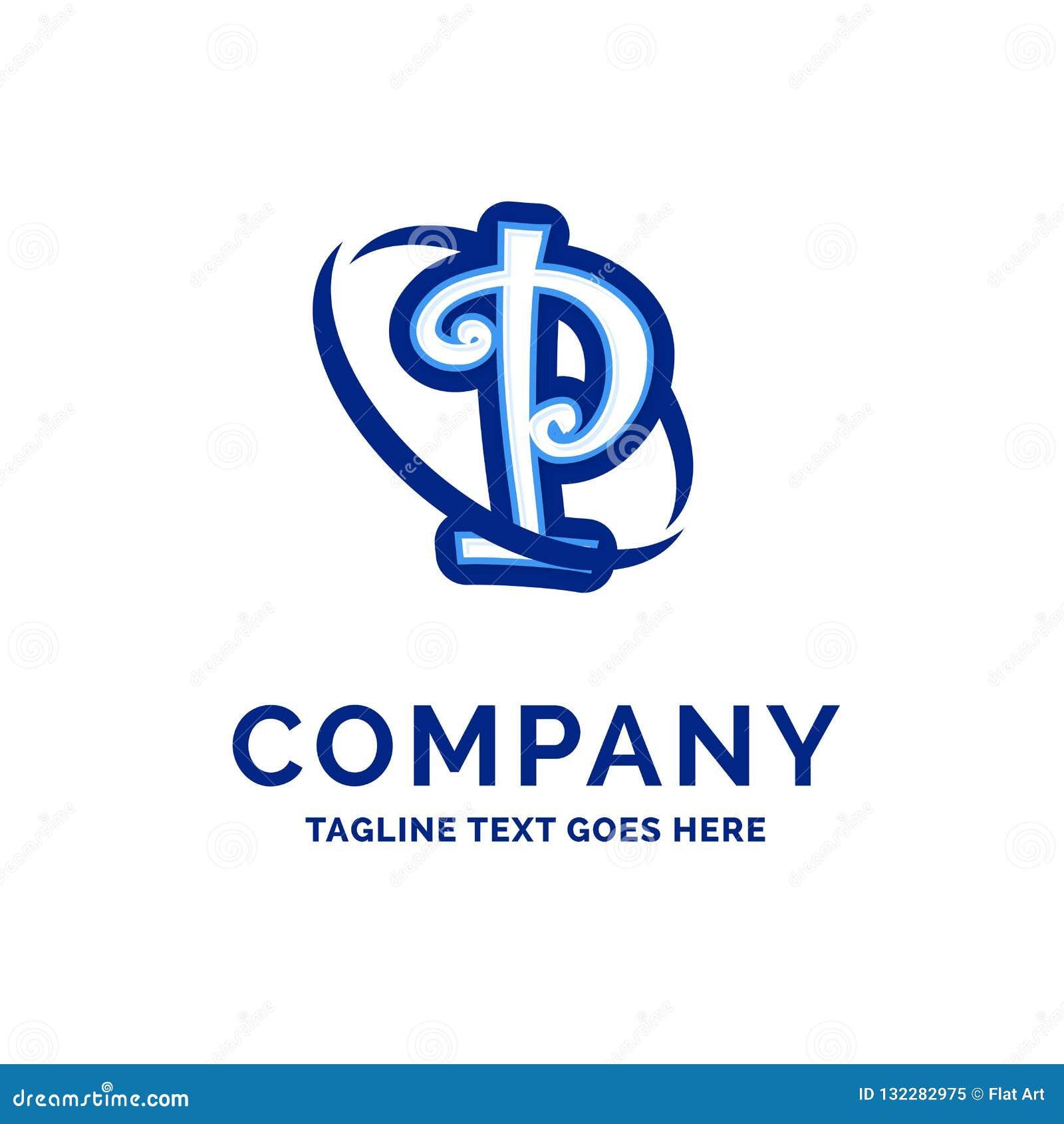 Blått Logo Design för P Företag namndesign
