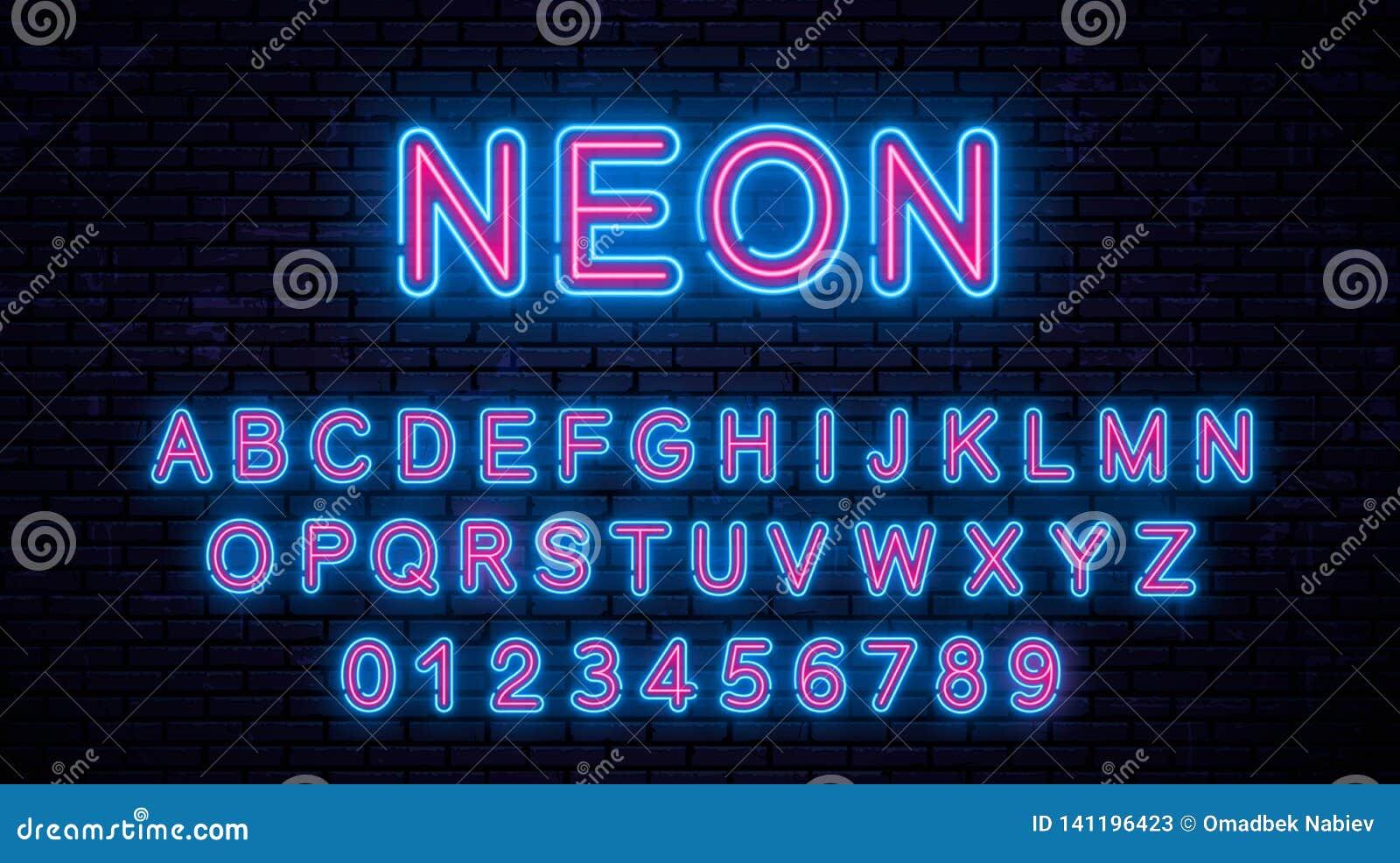 Blått neon - röda bokstäver
