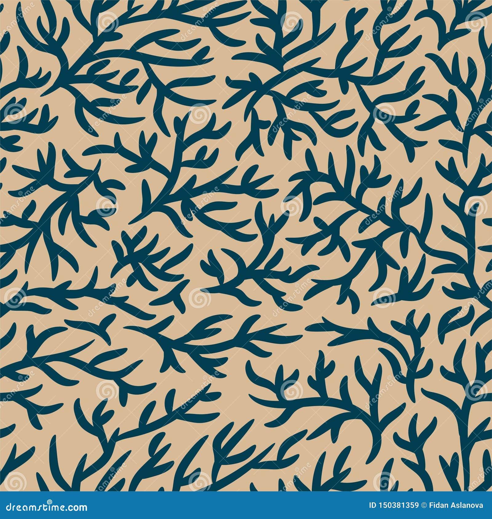 Blått och ljust - brun filialmodell Sprucken effekt seamless vektor f?r bakgrund För tyg textil, design som annonserar banret
