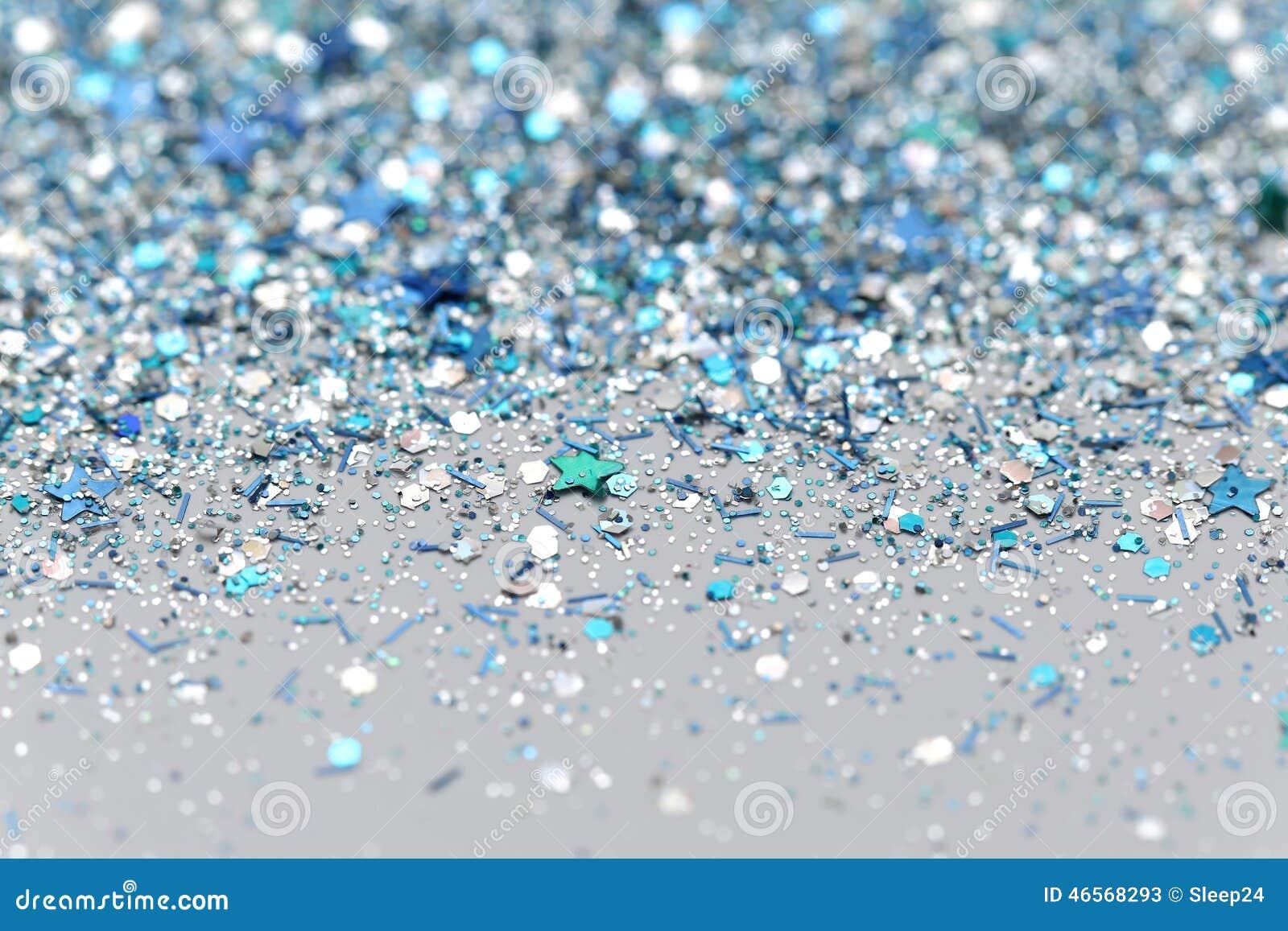 Blått och silver fryste mousserande stjärnor för snövinter blänker bakgrund Ferie jul, abstrakt begrepptextur för nytt år