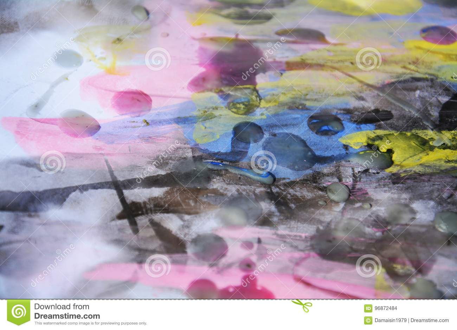 Omtalade Blått Rosa Vattenfärg För Pastell Och Vax, Abstrakt Bakgrund XC-09