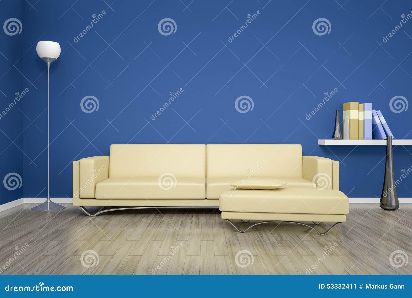 Blått rum med en soffa