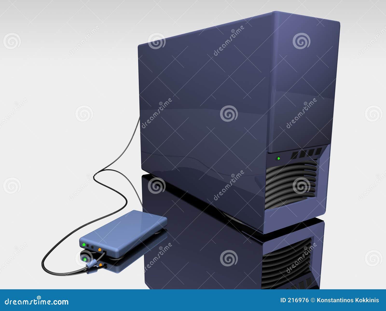 Blått torn för dator 3d