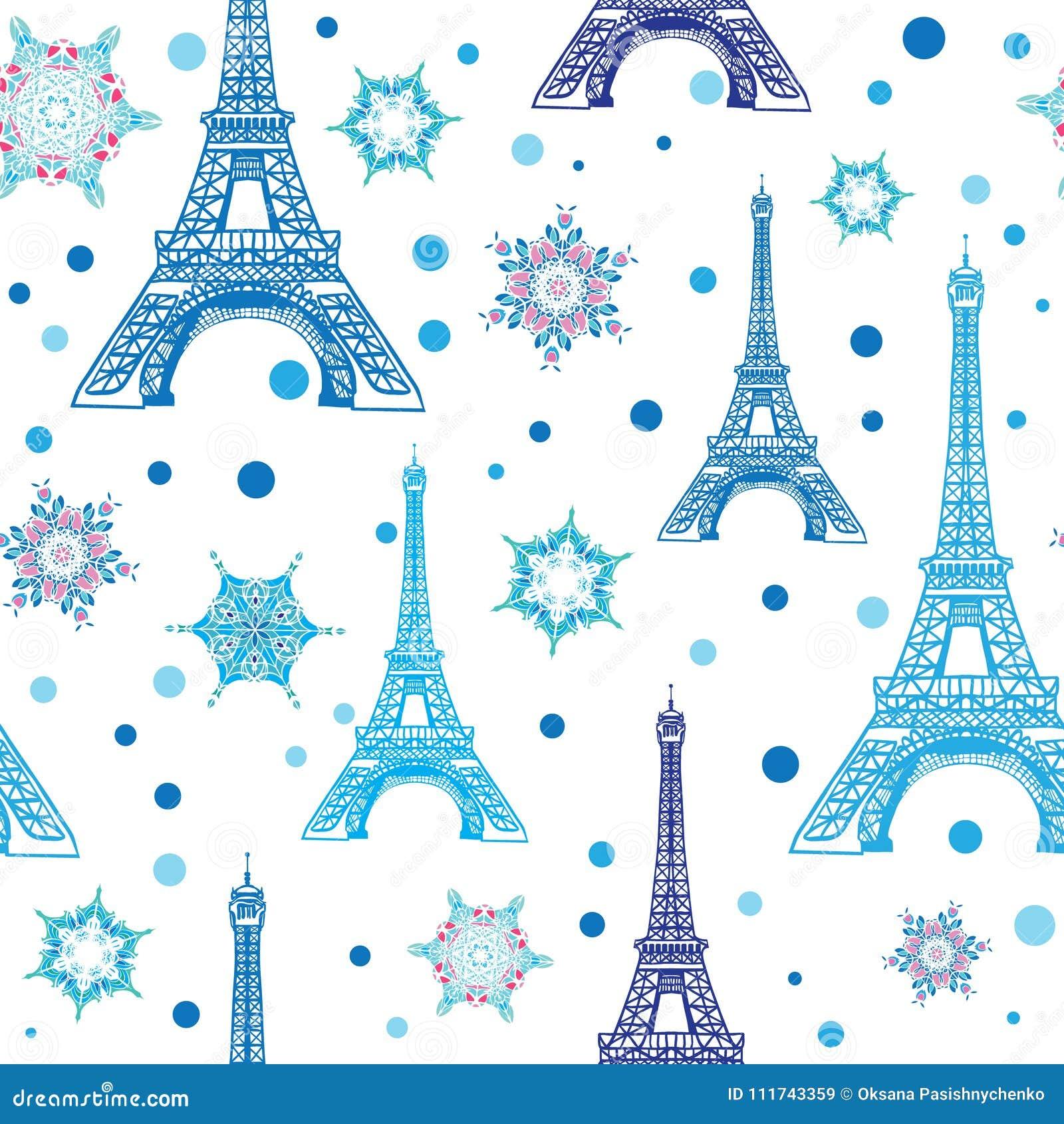 Blått vitt Eifel för vektor torn Paris och sömlös repetitionmodell för snöflingor Göra perfekt för themed vykort för ferielopp