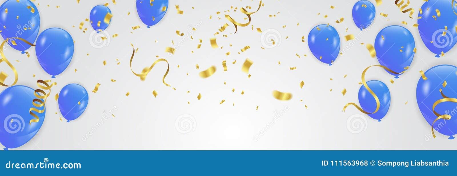 Blåttballonger, vektorillustration Berömbakgrundstempl