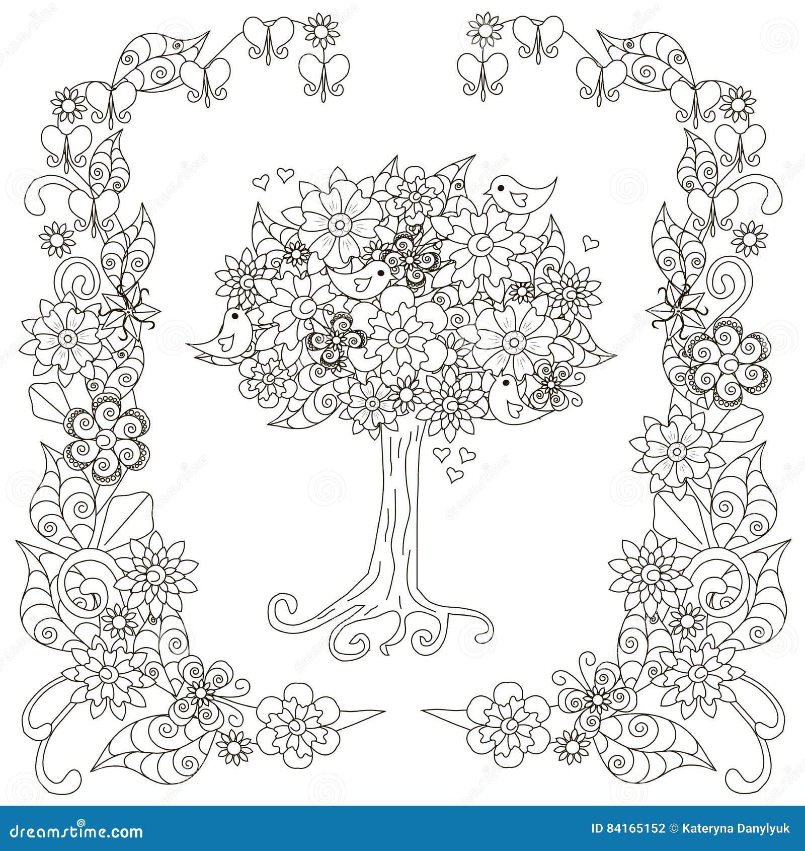 Bluhender Baum Des Antidruckes Vogel Mit Herzen Bluhender