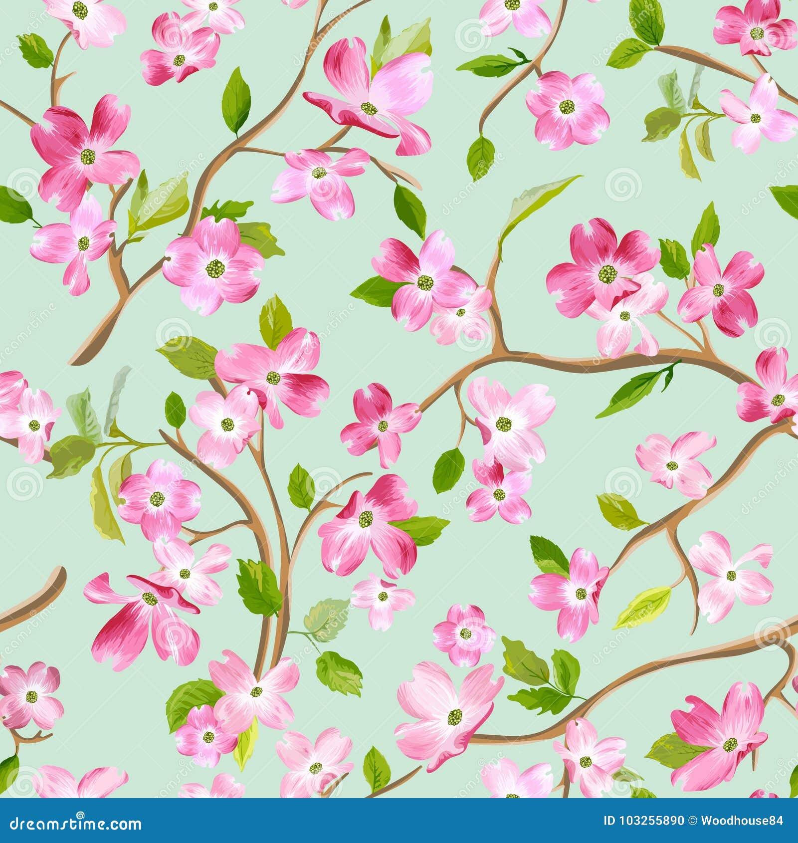 Blühender Frühlings-Blumen-Muster-Hintergrund Nahtloser Mode-Druck