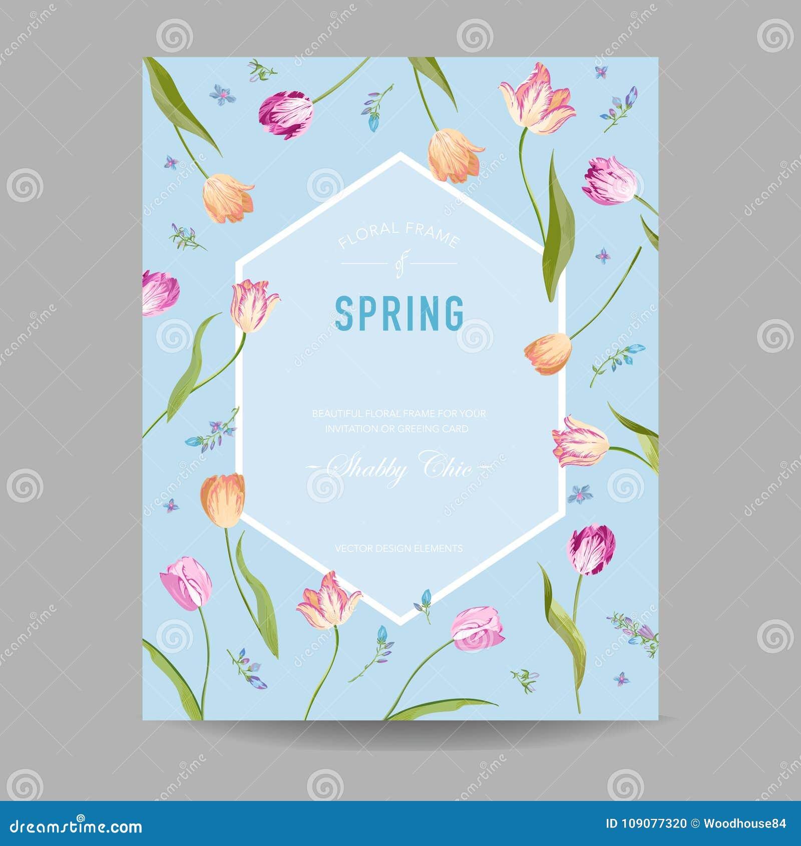 Blühender Frühlings-und Sommer-Blumenrahmen Aquarell-Tulpen-Blumen ...