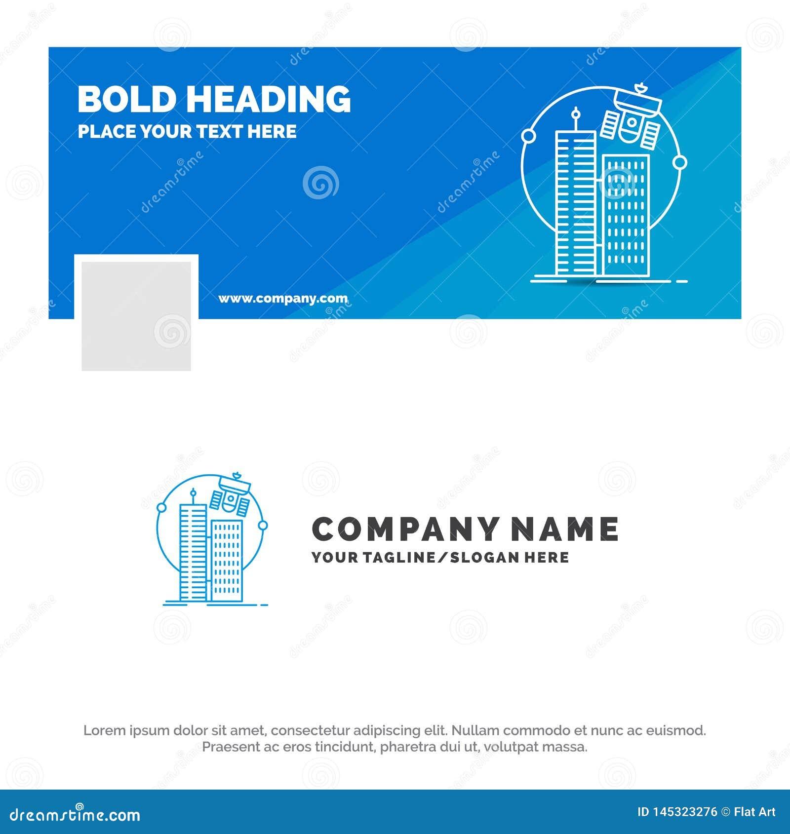 Bl? aff?r Logo Template f?r byggande, smart stad, teknologi, satellit, korporation Design f?r Facebook Timelinebaner vektor