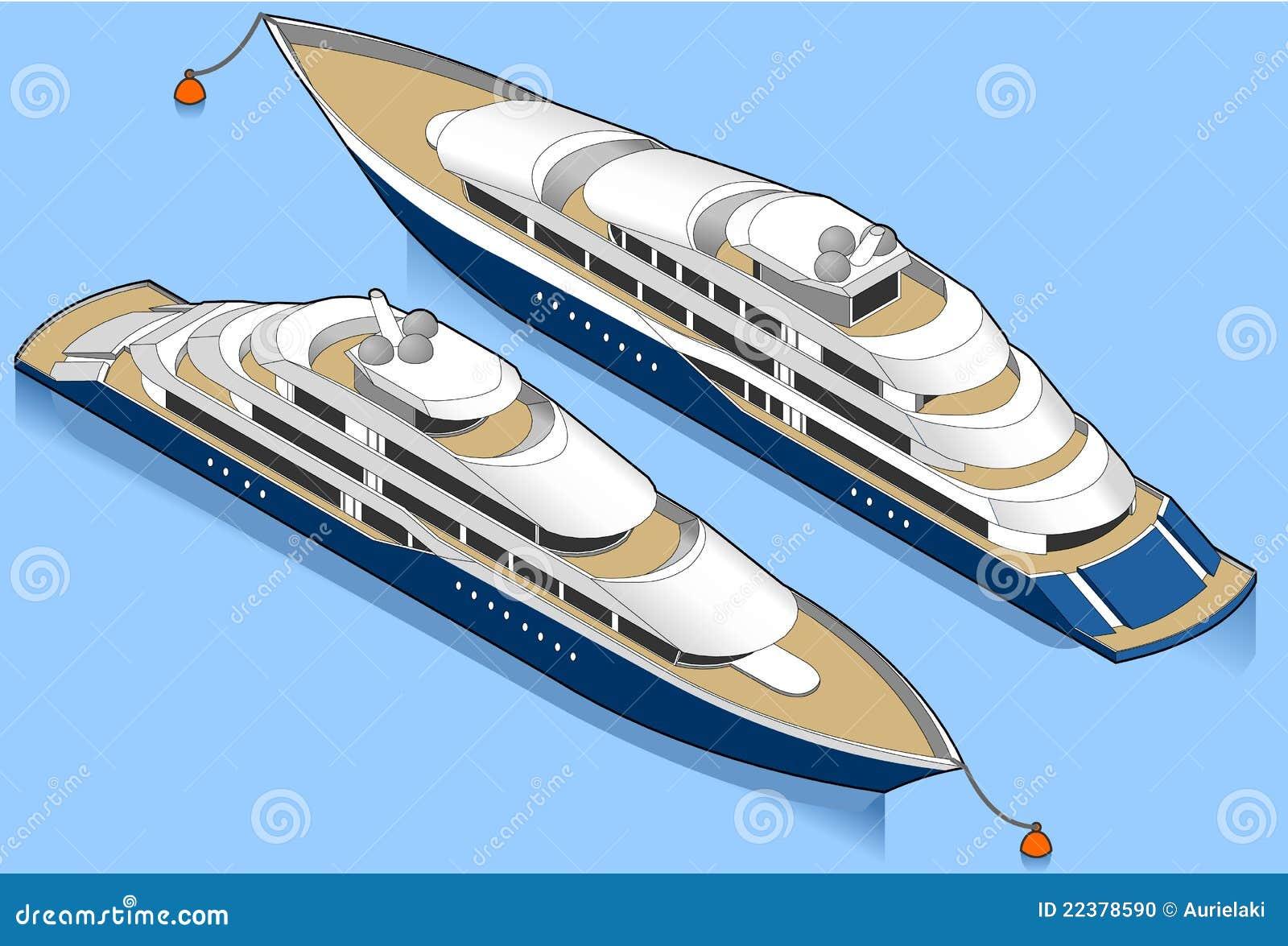 Blå isometrisk yacht