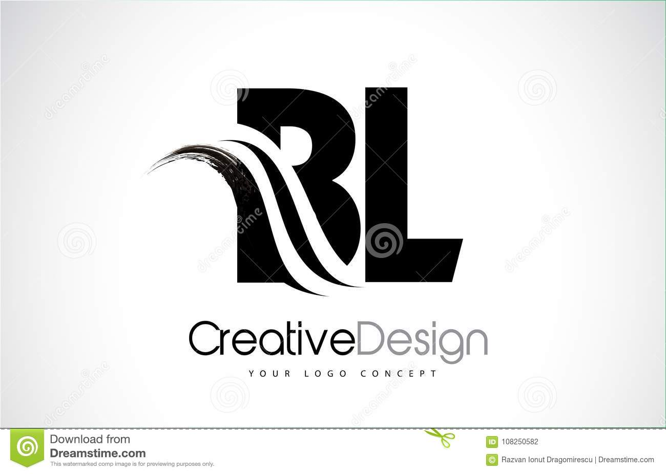 Bl B L Creative Brush Black Letters Design With Swoosh Stock Vector