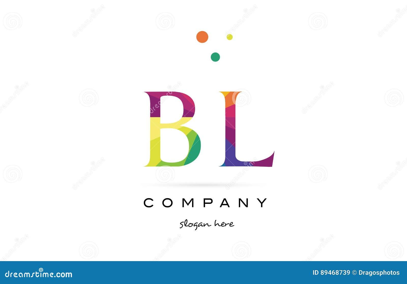 Bl B L Creative Rainbow Colors Alphabet Letter Logo Icon Stock