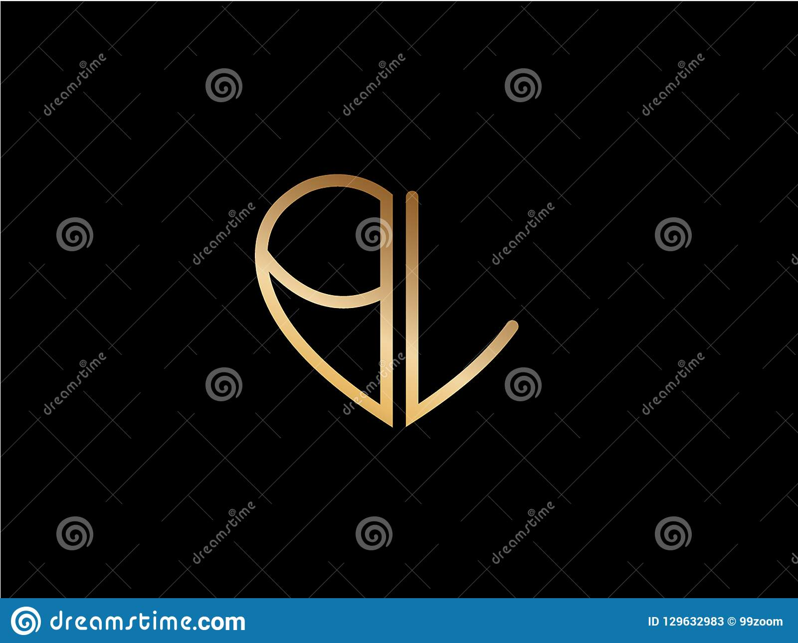 Bl Initial Heart Shape Gold Colored Logo Stock Illustration