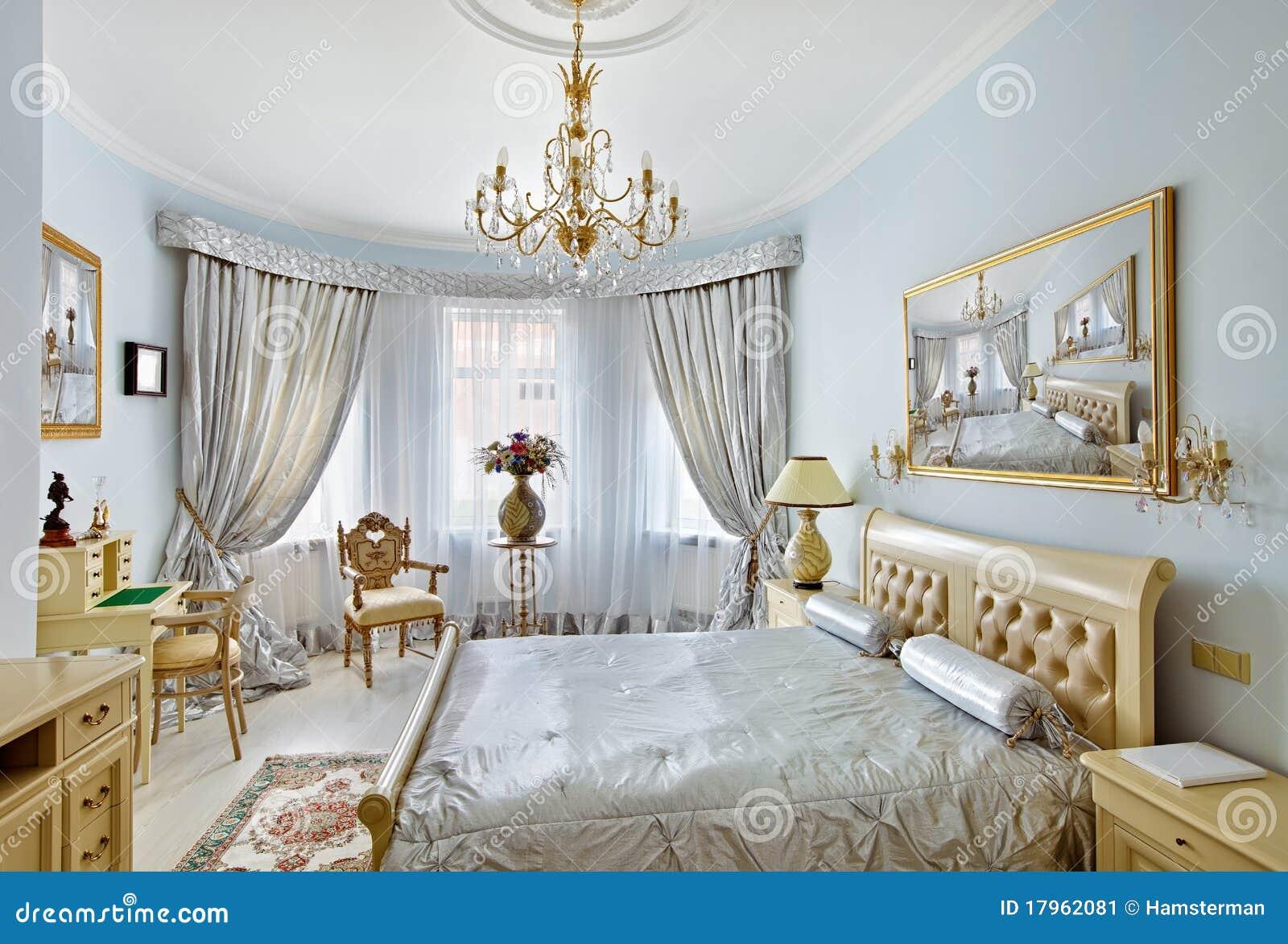 Blå klassisk inre lyxig stil för sovrum fotografering för ...