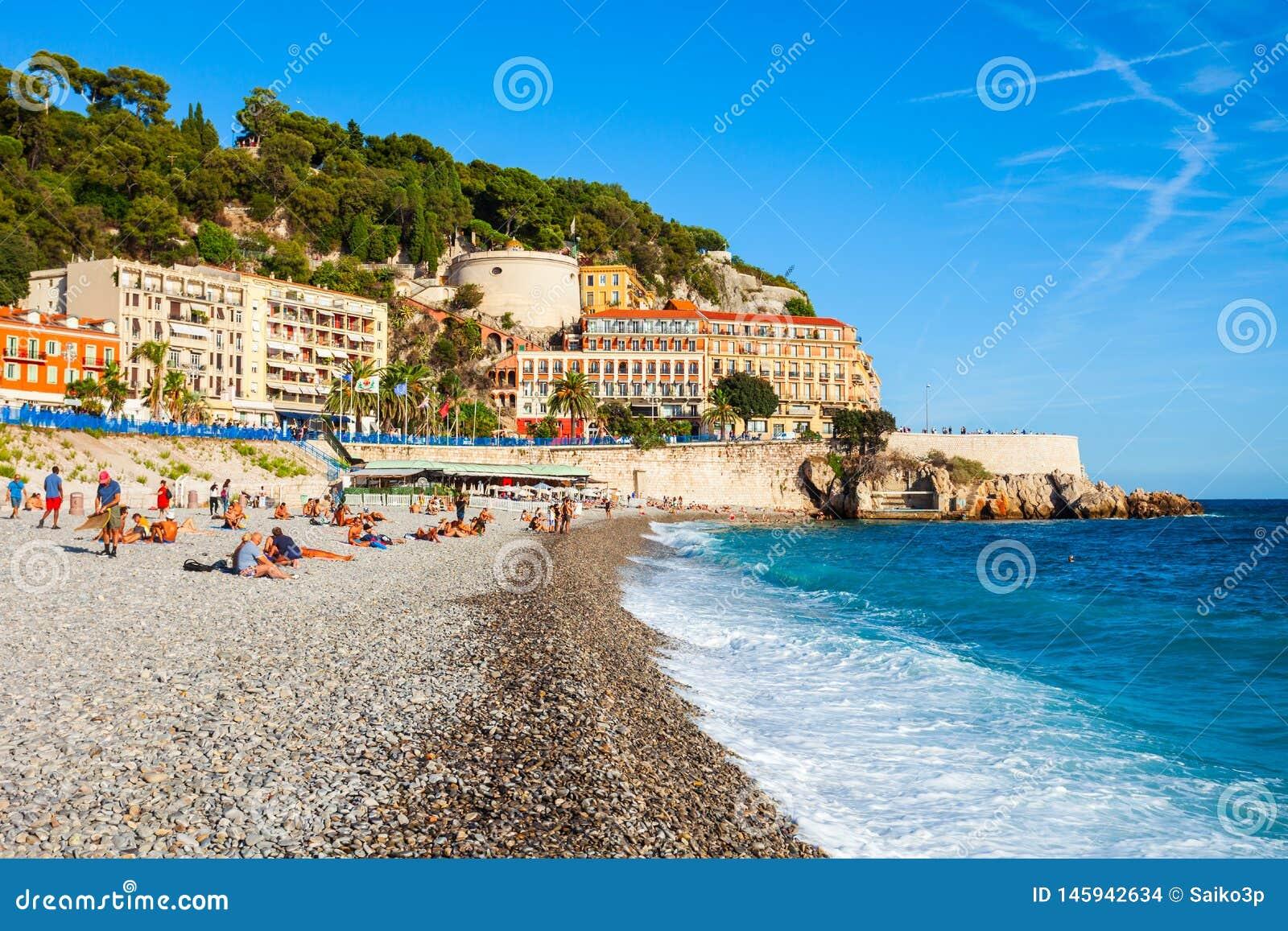 Bl? strand f?r Plage i Nice, Frankrike