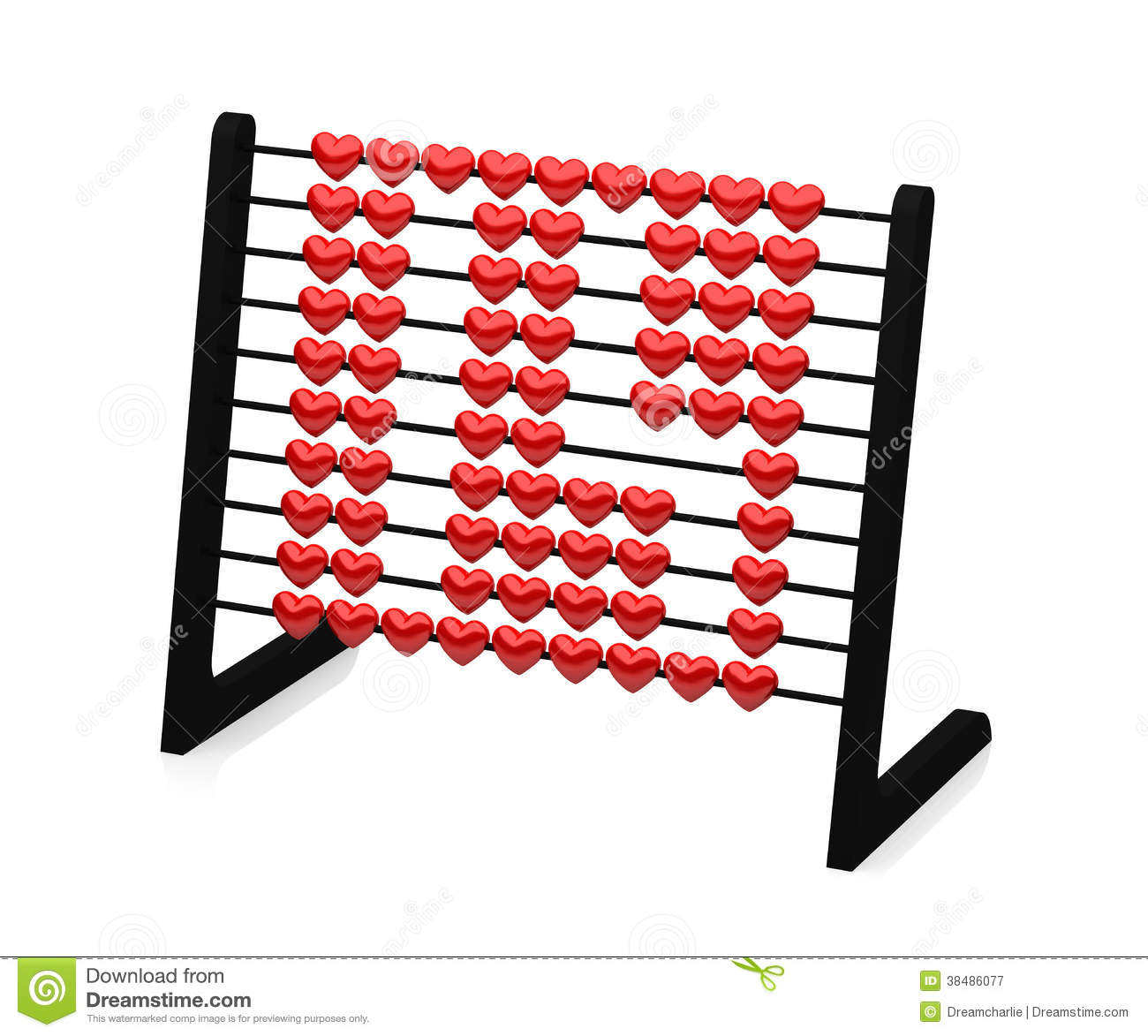 Black abacus with red hearts illustrating the number fourteen - 3d rendering -