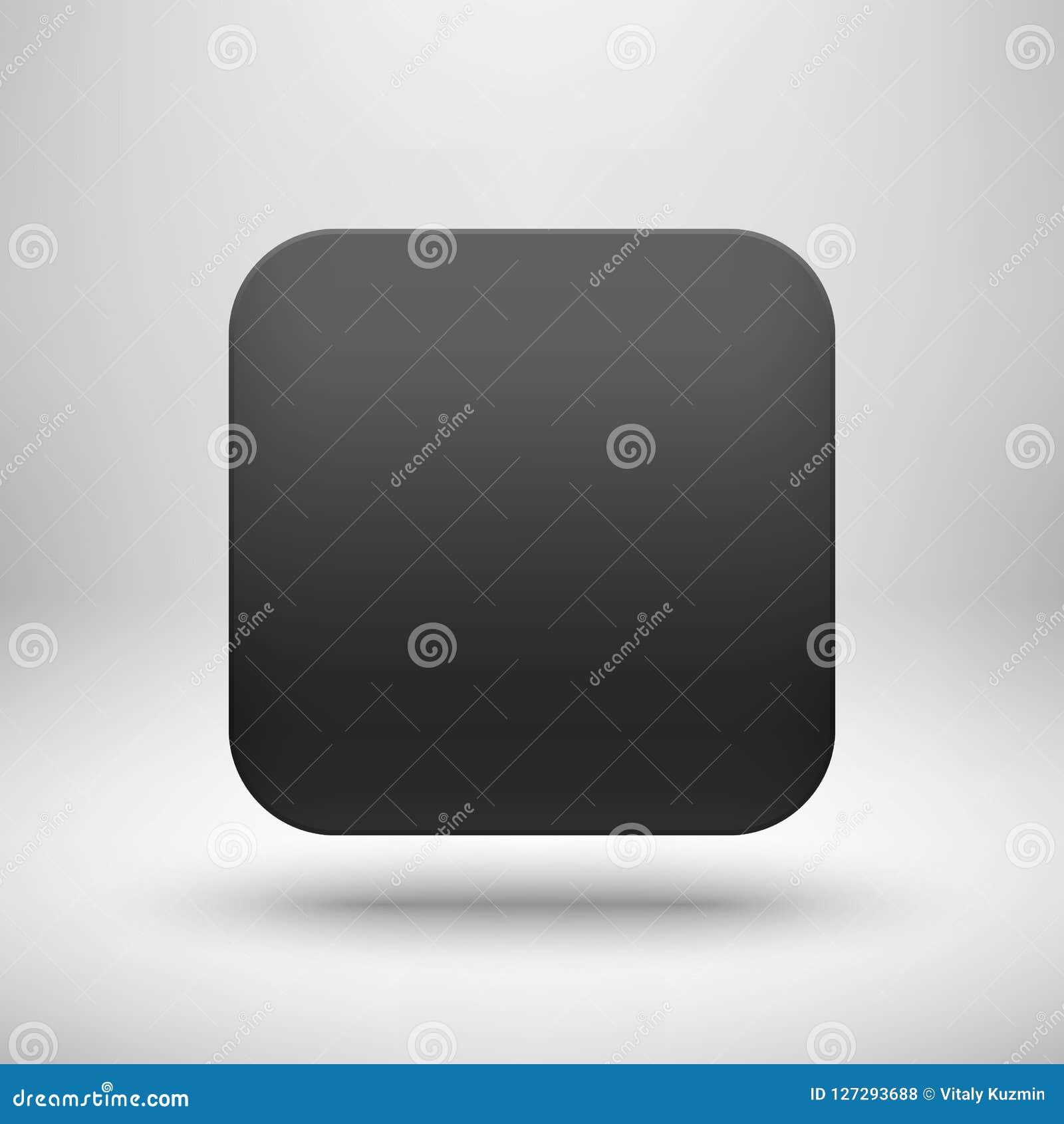 Black Abstract Blank App Icon Button Template Stock Vector ...