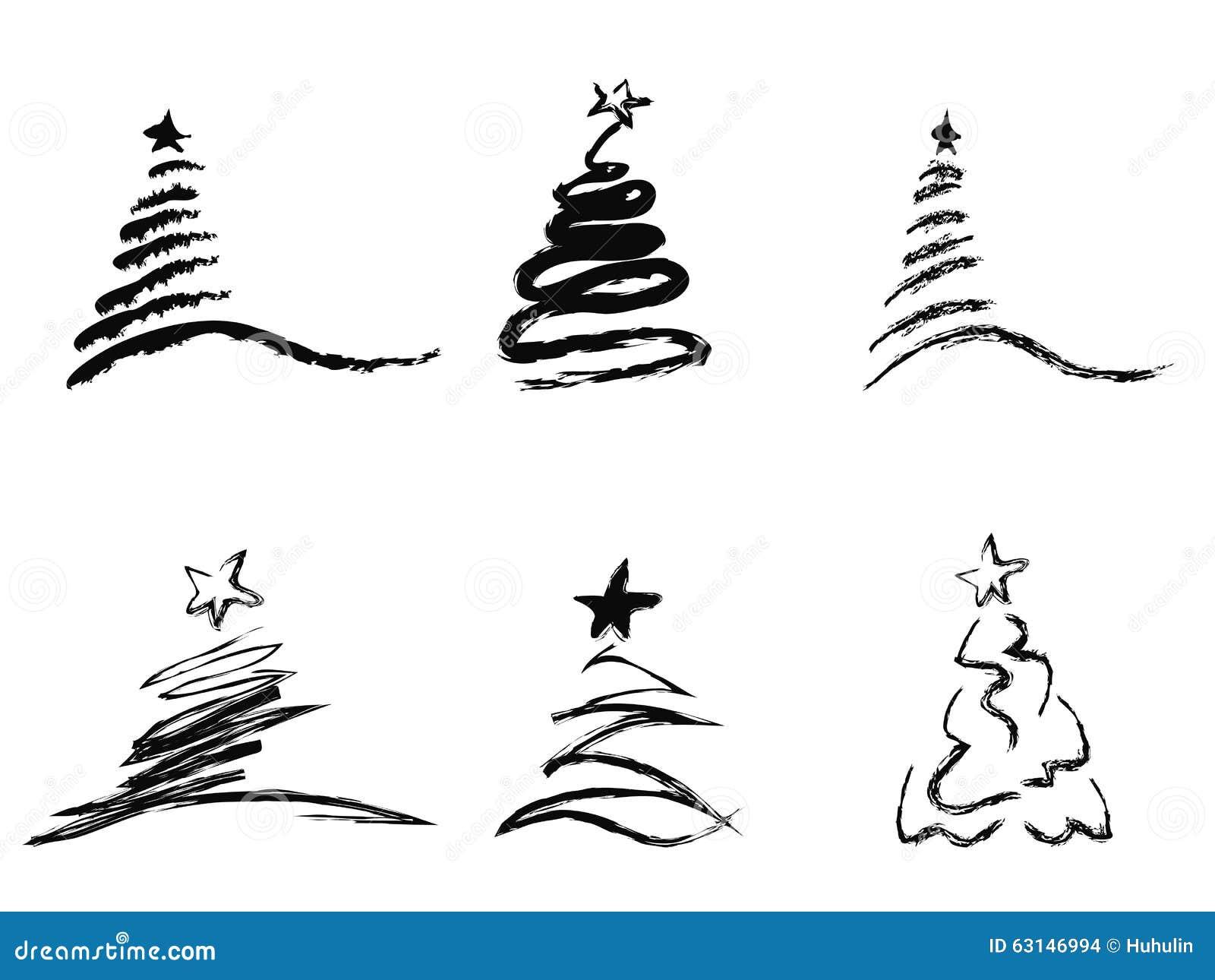 Black Abstract Christmas Tree Stock Vector