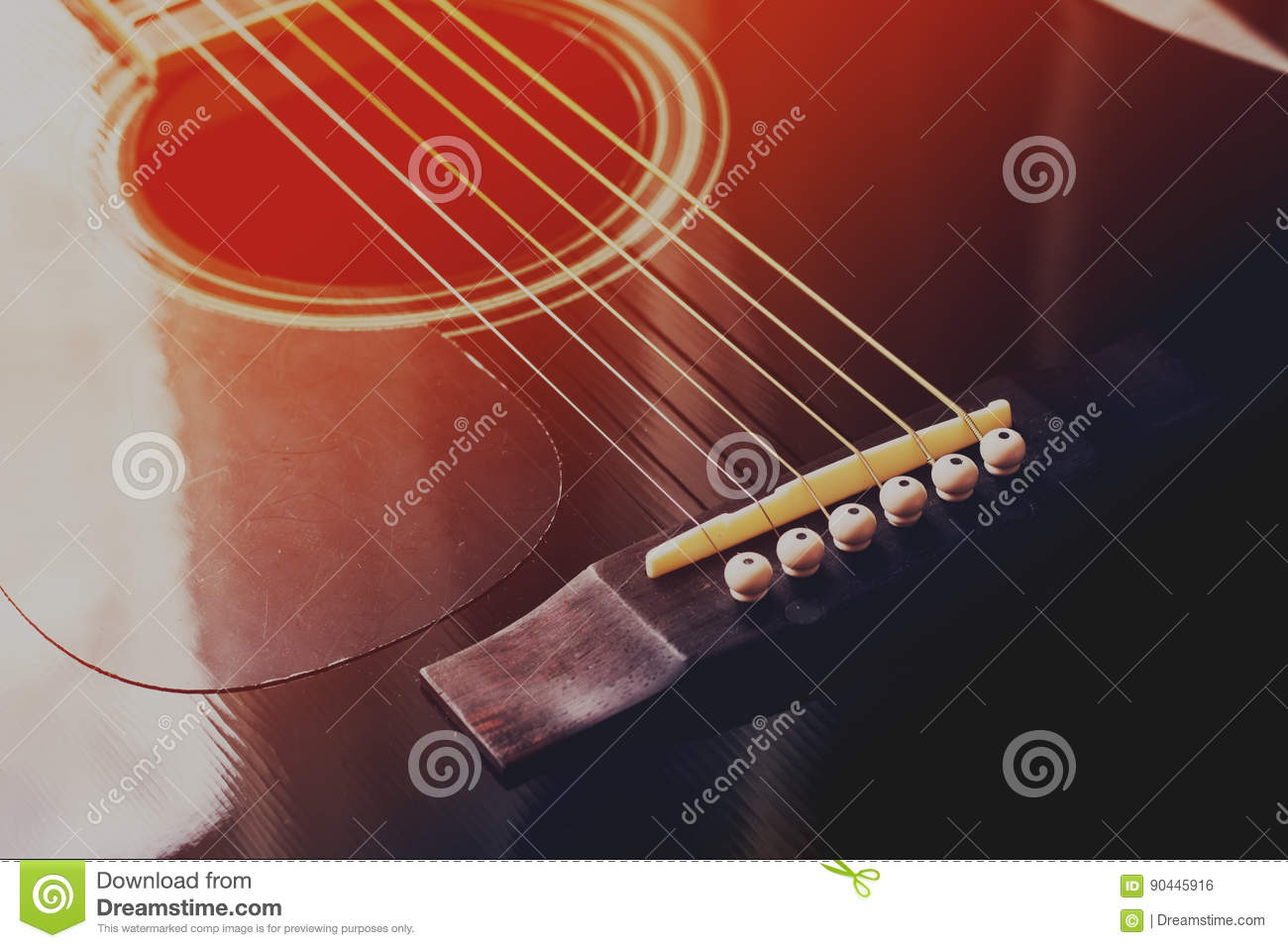 Black Acoustic Guitar Red Blue Toned Photo Stock Photo Image Of