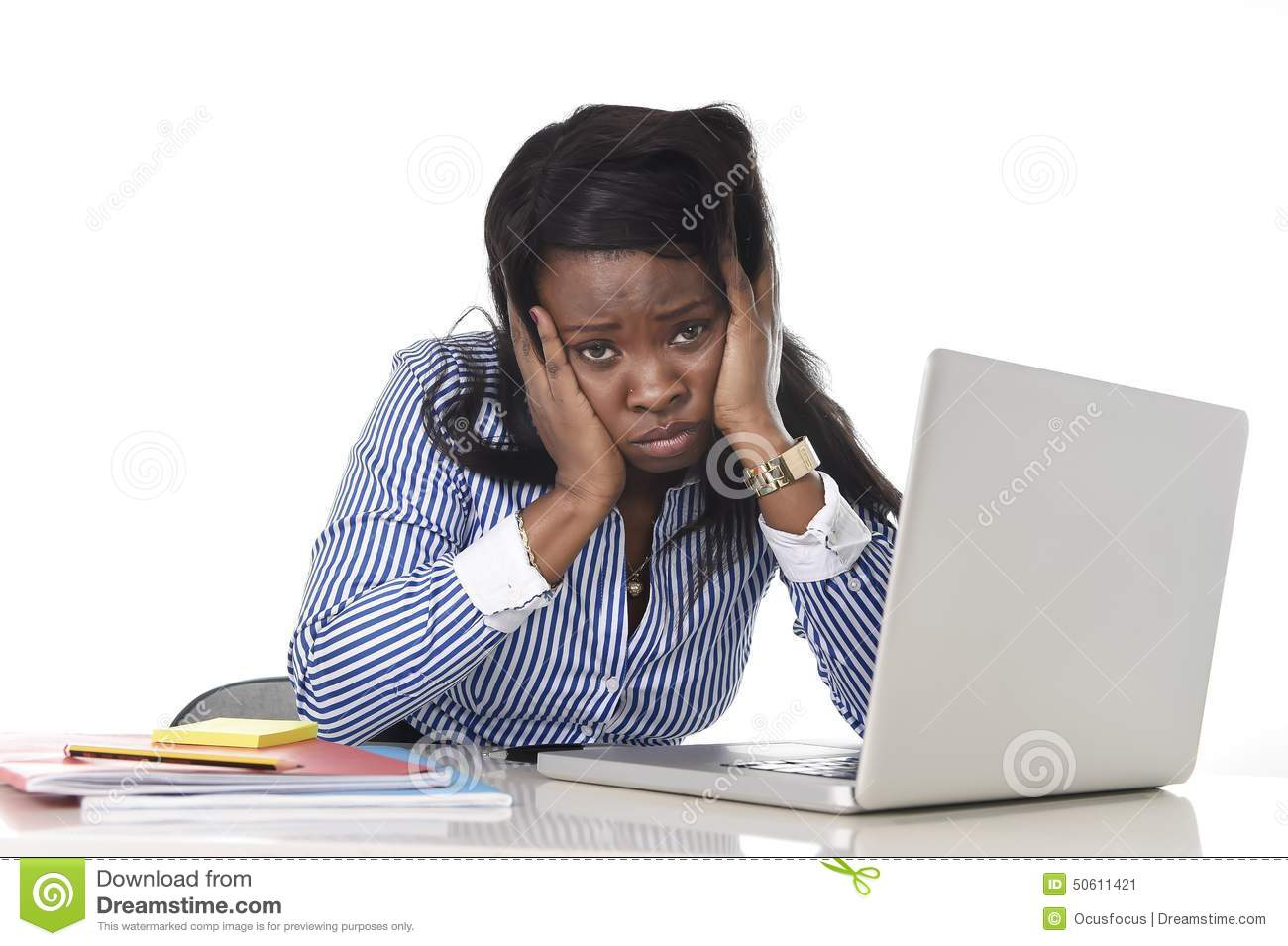 Black African American Ethnicity Frustrated Woman Working ...