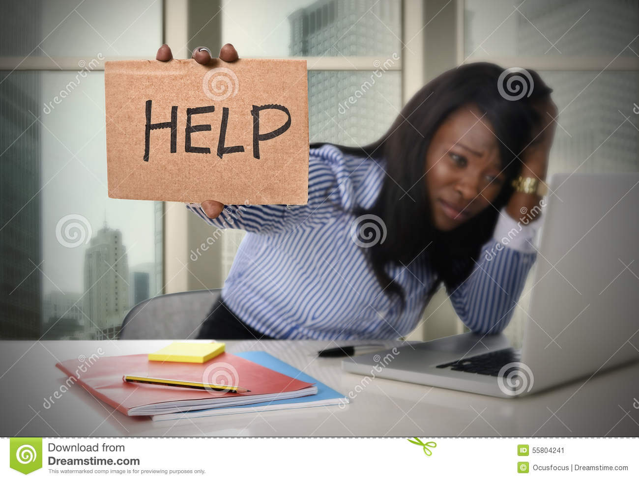 Black African American Ethnicity Tired Frustrated Woman