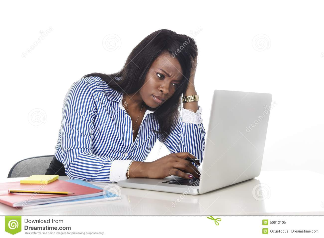 Black African American Ethnicity Worried Woman Working In ...