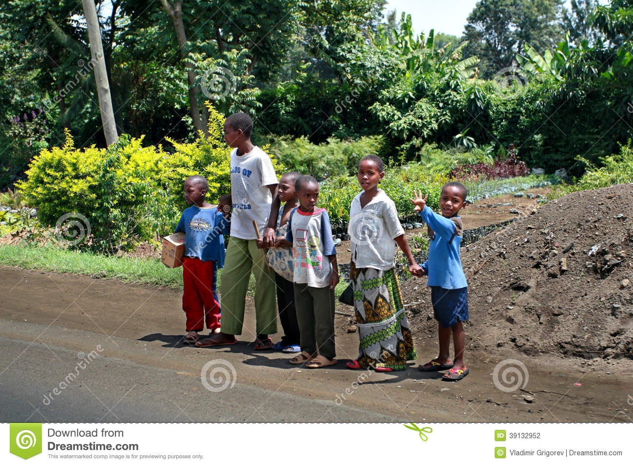 Black African Children Crossing Road, Tanzania Editorial -6273