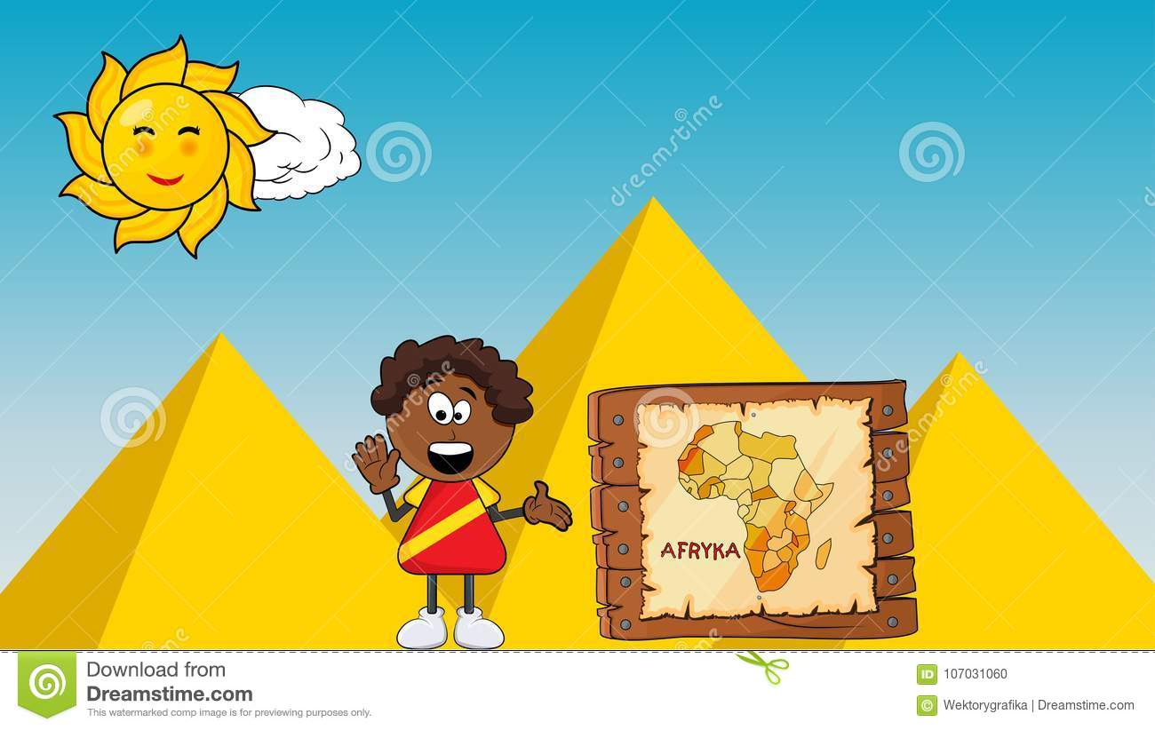 Black African Smile Boy With Africa Map Cartoon Design On Pyramid