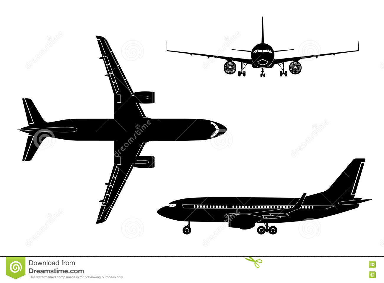 black airplane silhouette on a white background top view front