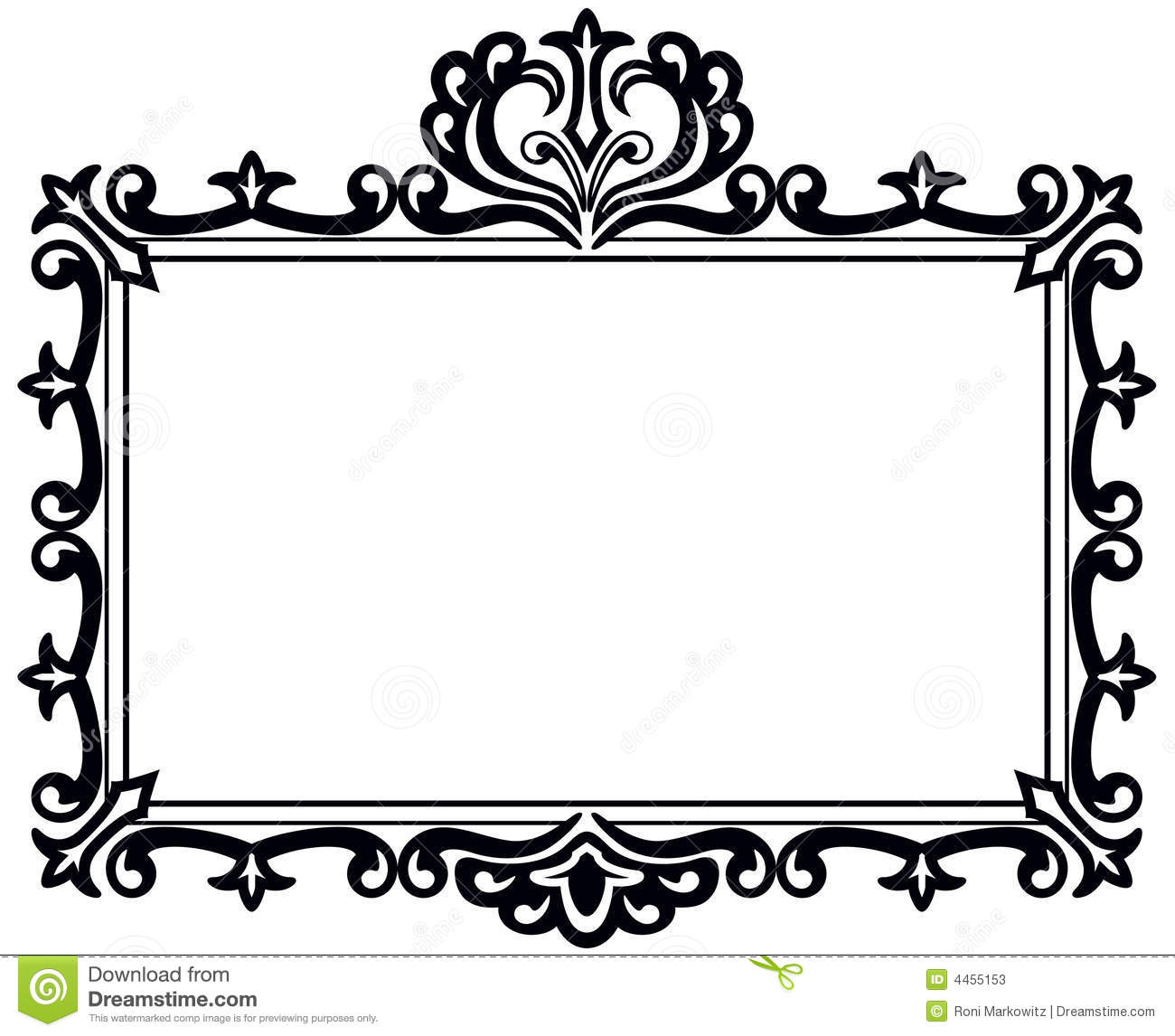 An illustration of a black frame with appearance of old style engraved ...