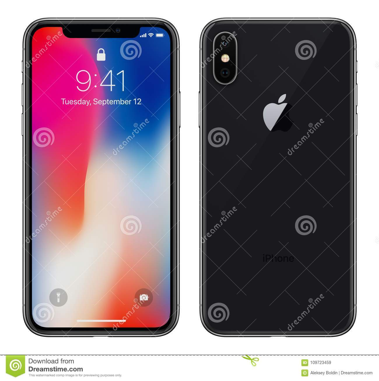 Black Apple IPhone X With IOS 11 Lockscreen Front Side And Back Side