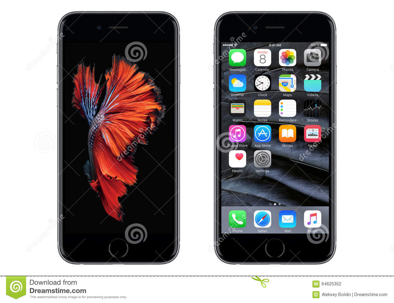 Black Apple IPhone 6S With IOS 9 And Dynamic Wallpaper