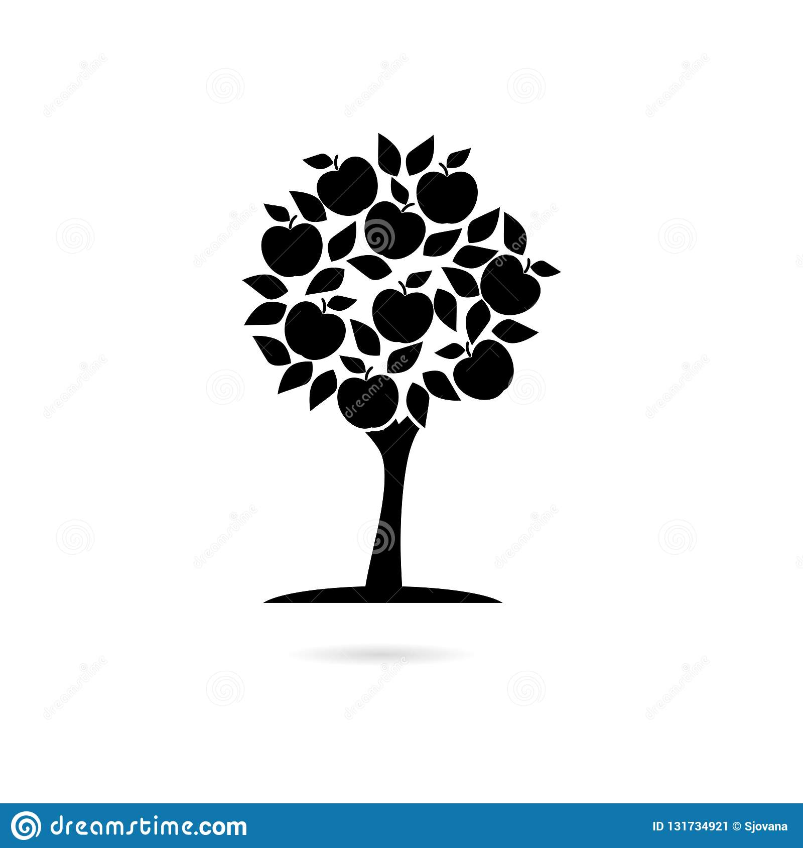 Black Apple Tree Icon Or Logo Stock Vector Illustration Of Agriculture Fresh 131734921