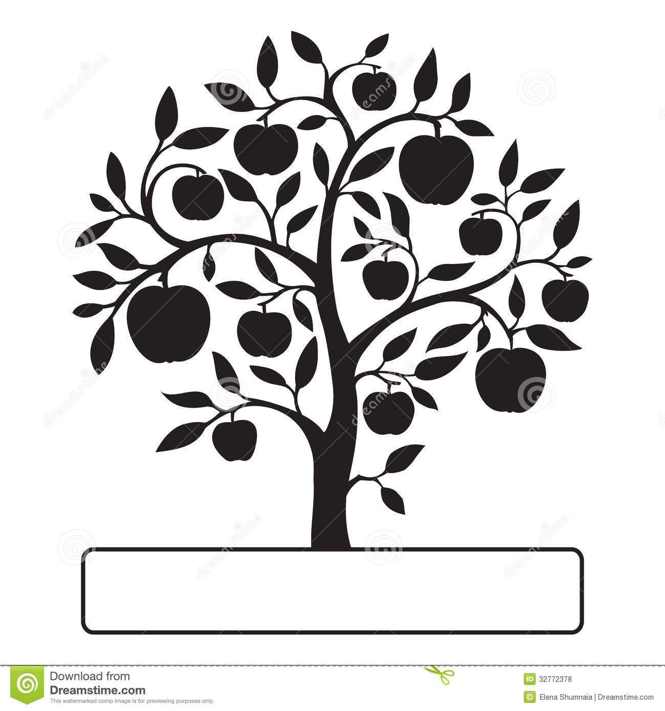 Black Apple Tree With Text Box Royalty Free Stock Photos