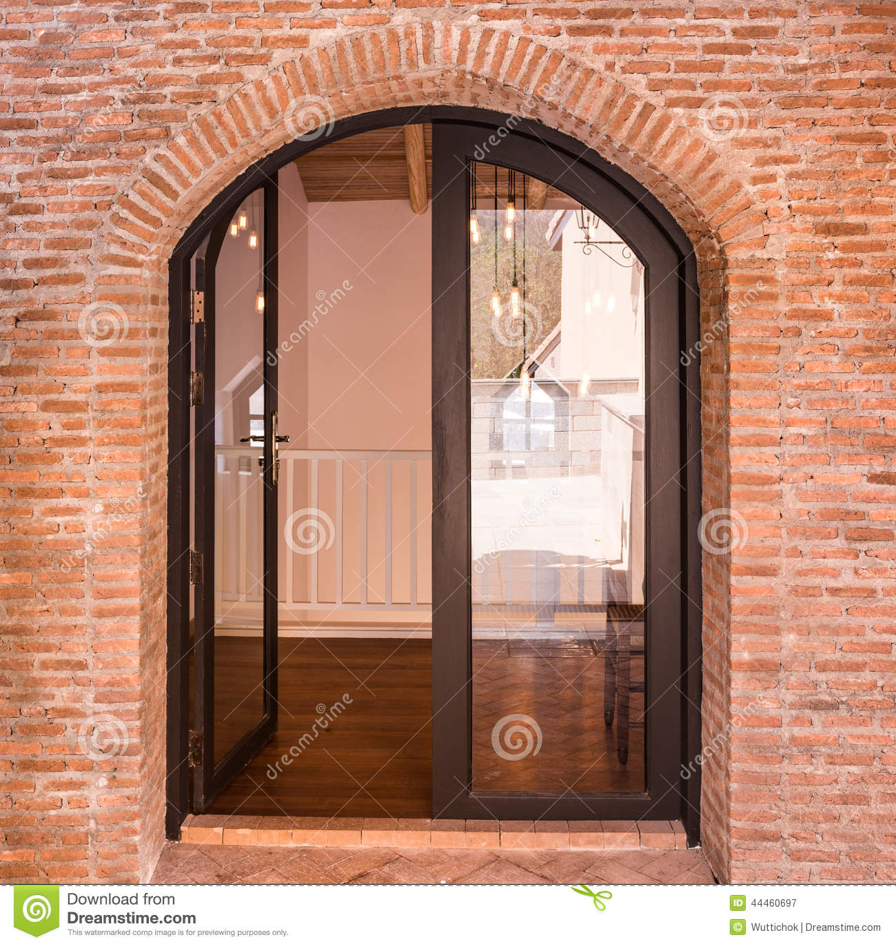 Black Arch Door On Red Brick Wall Stock Photo Image