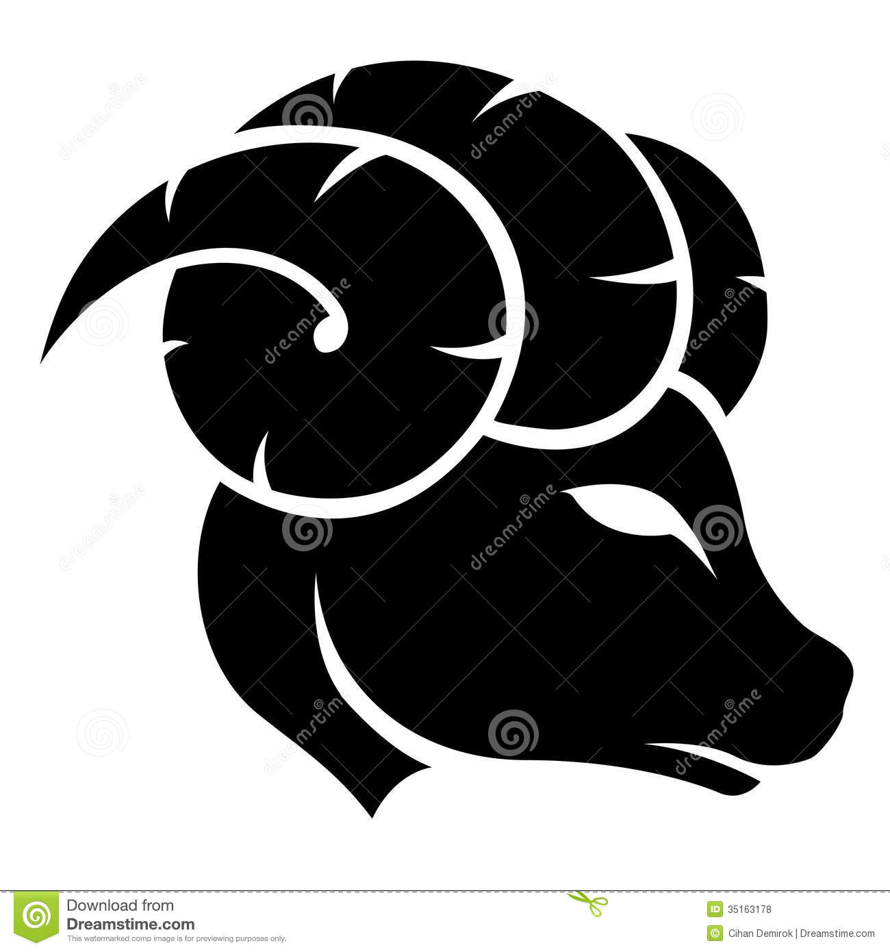 Illustration of Black Aries Zodiac Star Sign isolated on a white ...