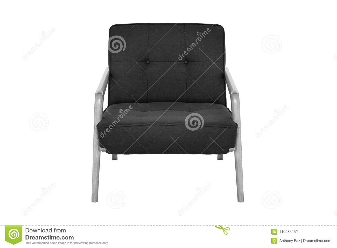 Black Fabric And Wood Armchair Modern Designer Stock Photo ...