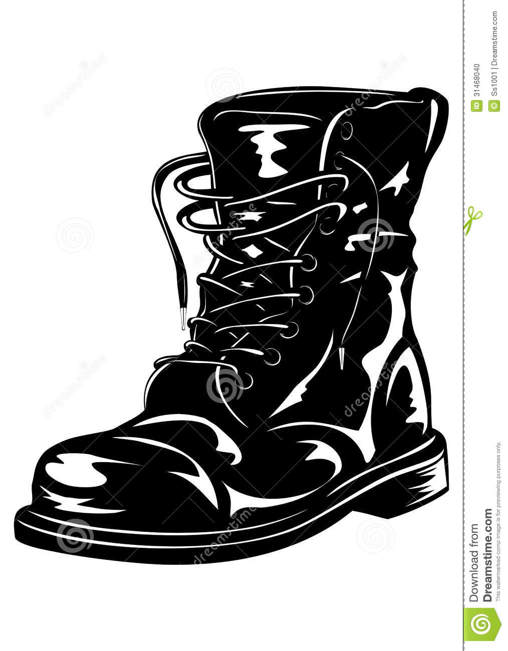 Black Army Boot Stock Vector Illustration Of Military