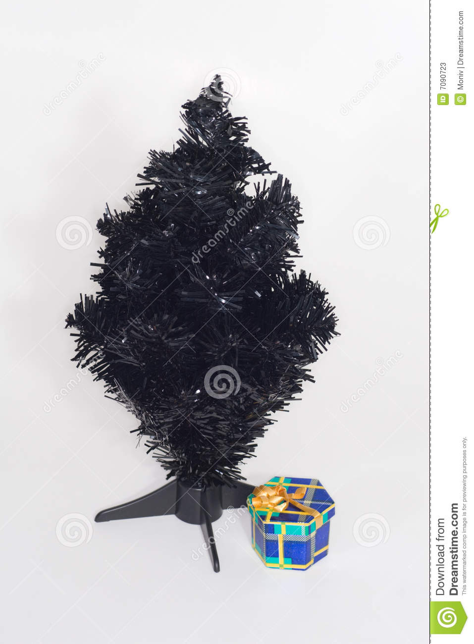 a black artificial christmas tree