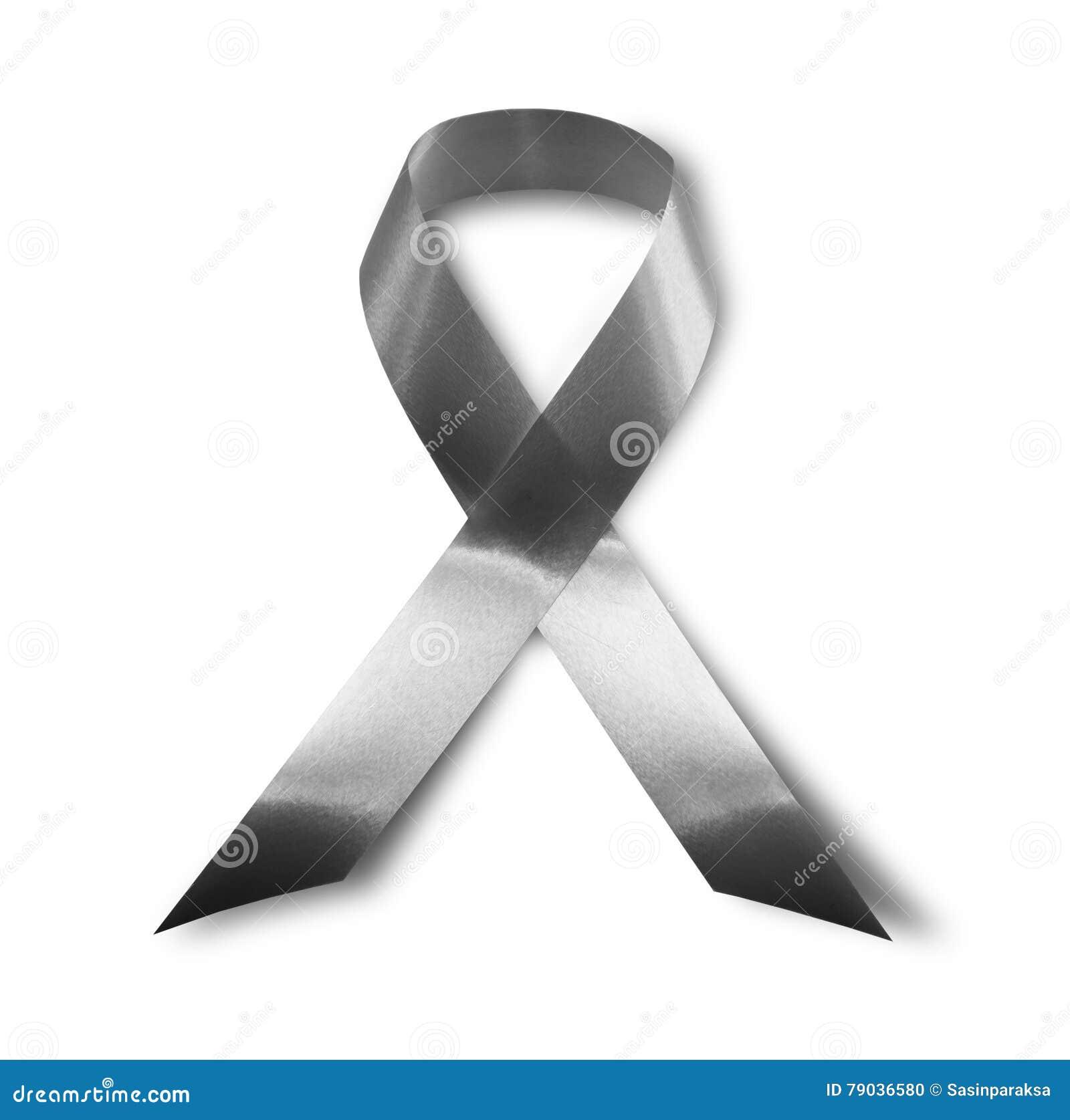 Black Awareness Ribbon Mourning And Melanoma Symbol Isolated On