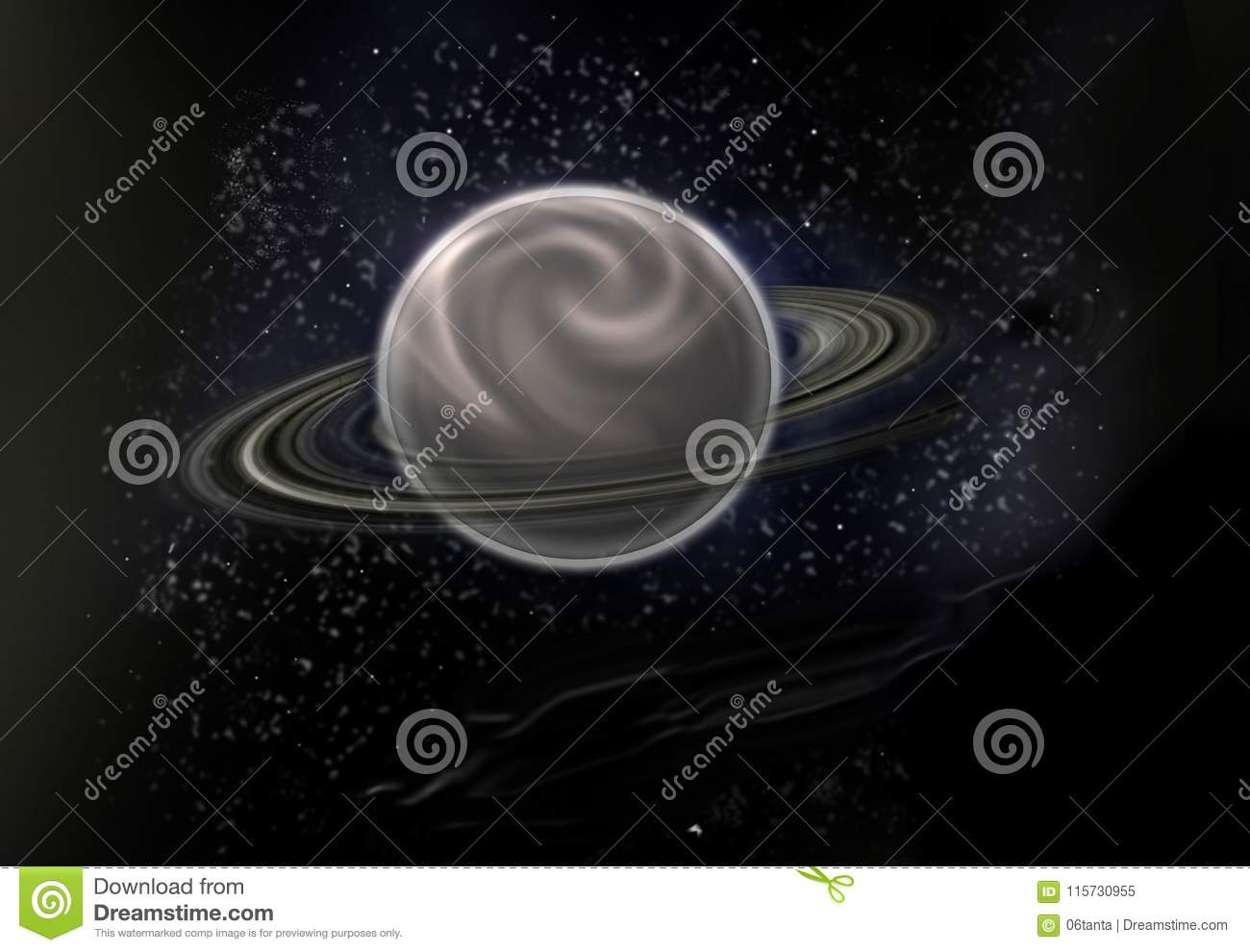 Black star background with a major planet in the centre