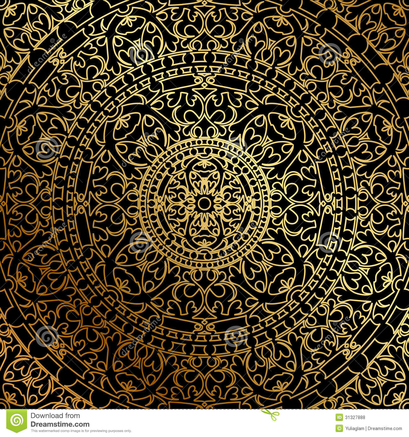 Black Background With Gold Oriental Ornament Royalty Free Stock Photos ...