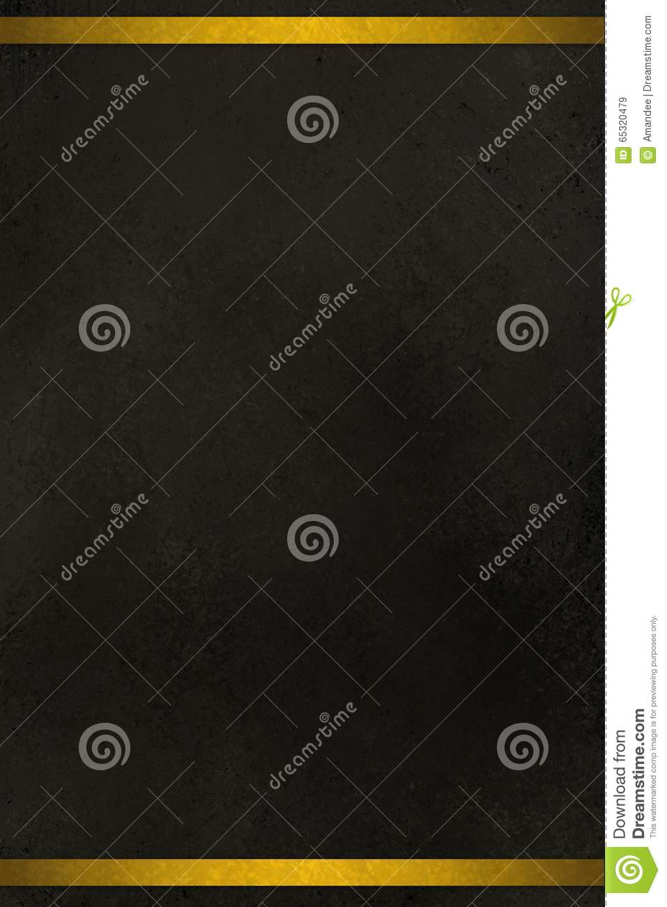 black background with gold ribbon or stripes on border