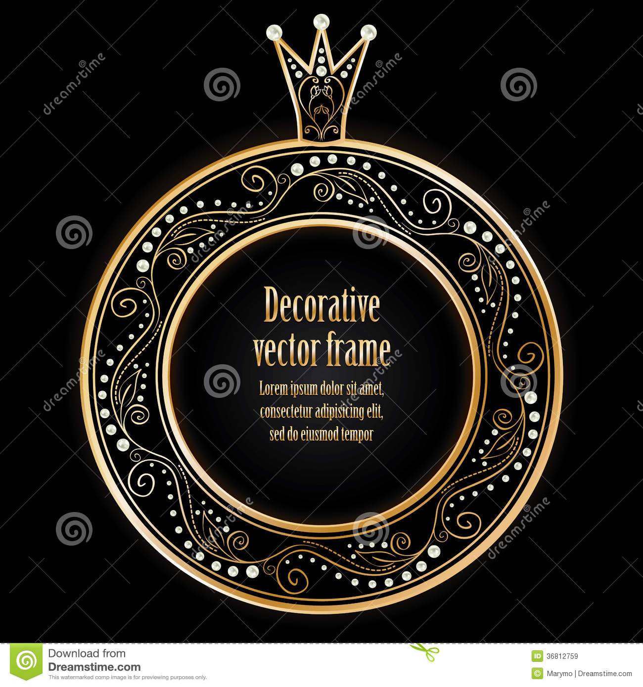 Black Background With Luxury Gold Vintage Frame Wi Royalty Free Stock ...