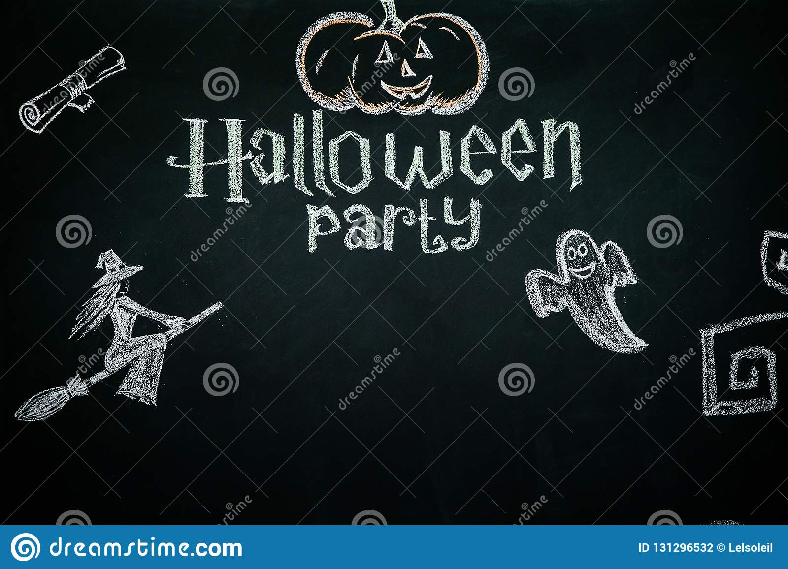 Black background with text and pictures for the celebration of Halloween